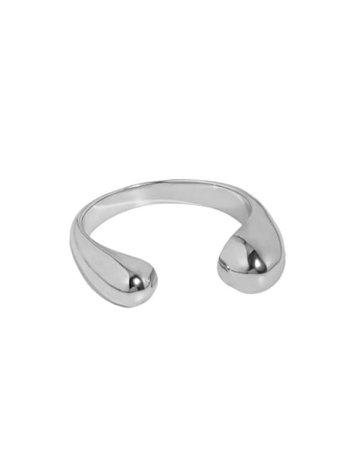 Platinum [13 adjustable] 925 Sterling Silver Water Drop Minimalist Band Ring